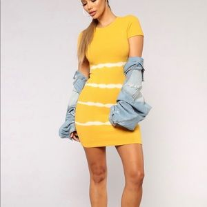 Fashion nova mustard the dye dress